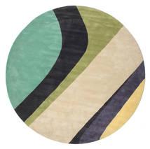 Dynamic Handtufted - Mint Tapete Ø 300 Moderno Redondo Bege/Cinza Escuro/Verde Pastel Grande (Lã, Índia)
