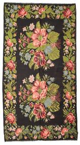 Kilim Rose Moldavia Tapete 195X367 Oriental Tecidos À Mão Preto/Castanho Escuro (Lã, Moldávia)