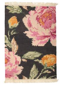 Kilim Karabakh Sofia - Preto Tapete 100X160 Moderno Tecidos À Mão Cinza Escuro/Luz Rosa (Lã, Índia)