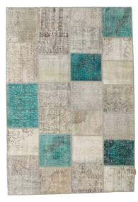 Patchwork Tapete 160X232 Moderno Feito A Mão Cinzento Claro/Azul Turquesa (Lã, Turquia)