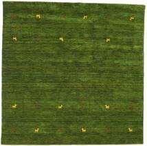 Gabbeh Loom Two Lines - Verde Tapete 200X200 Moderno Quadrado Verde Escuro (Lã, Índia)