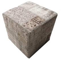 Patchwork Stool Ottoman Tapete 50X50 Oriental Feito A Mão Quadrado Cinzento Claro/Cinza Escuro (Lã, Turquia)