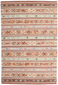Kilim Anatolian Tapete 190X290 Moderno Tecidos À Mão Vermelho Escuro/Cinzento Claro (Lã, Índia)