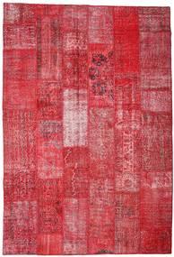 Patchwork Tapete 201X296 Moderno Feito A Mão Vermelho/Castanho Alaranjado (Lã, Turquia)