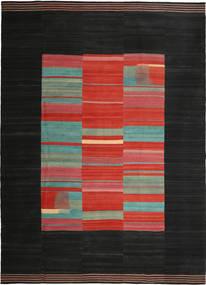 Kilim Moderno Tapete 264X372 Moderno Tecidos À Mão Preto/Castanho Alaranjado Grande (Lã, Pérsia/Irão)