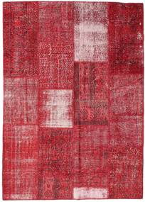 Patchwork Tapete 160X226 Moderno Feito A Mão Vermelho/Castanho Alaranjado (Lã, Turquia)