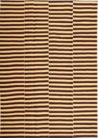 Kilim Moderno Tapete 221X318 Moderno Tecidos À Mão Castanho Escuro/Castanho Claro (Algodão, Pérsia/Irão)