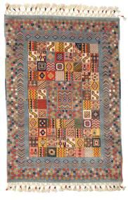 Handloom Tapete 90X130 Moderno Feito A Mão Vermelho Escuro/Branco/Creme (Lã, Índia)