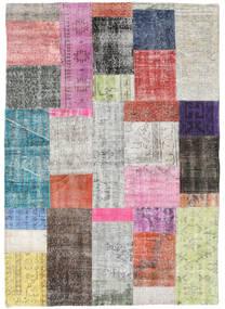 Patchwork Tapete 141X200 Moderno Feito A Mão Cinzento Claro/Bege Escuro (Lã, Turquia)