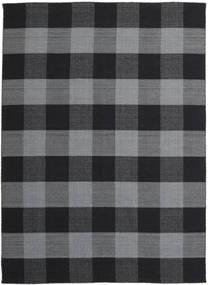 Check Kilim Tapete 240X340 Moderno Tecidos À Mão Cinza Escuro/Preto (Lã, Índia)