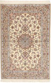 Isfahan Fio De Seda Davudi Tapete 130X202 Oriental Feito A Mão Bege/Cinzento Claro (Lã/Seda, Pérsia/Irão)