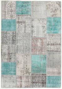 Patchwork Tapete 158X230 Moderno Feito A Mão Cinzento Claro/Azul Turquesa (Lã, Turquia)