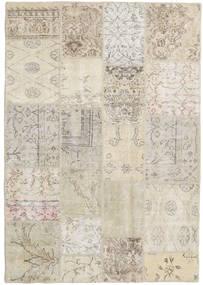 Patchwork Tapete 139X201 Moderno Feito A Mão Cinzento Claro/Bege Escuro (Lã, Turquia)