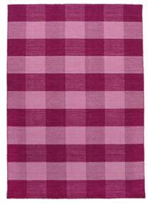 Check Kilim Tapete 210X290 Moderno Tecidos À Mão Rosa/Luz Rosa (Lã, Índia)