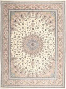 Isfahan Fio De Seda Tapete 315X420 Oriental Feito A Mão Cinzento Claro/Branco/Creme Grande (Lã/Seda, Pérsia/Irão)