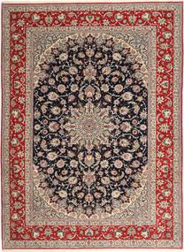 Isfahan Fio De Seda Tapete 265X363 Oriental Feito A Mão Cinzento Claro/Vermelho Escuro Grande (Lã/Seda, Pérsia/Irão)