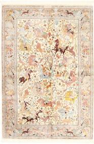 Ghom Seda Tapete 140X211 Oriental Feito A Mão Bege/Luz Rosa (Seda, Pérsia/Irão)