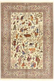 Ilam Sherkat Farsh Seda Tapete 150X220 Oriental Feito A Mão Bege/Castanho/Castanho Claro (Lã/Seda, Pérsia/Irão)