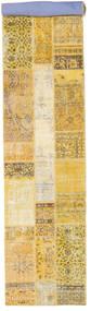 Patchwork Tapete 82X403 Moderno Feito A Mão Tapete Passadeira Bege Escuro/Amarelo (Lã, Turquia)