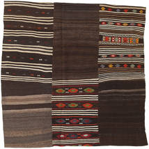 Kilim Patchwork Tapete 199X199 Moderno Tecidos À Mão Quadrado Castanho Escuro (Lã, Turquia)