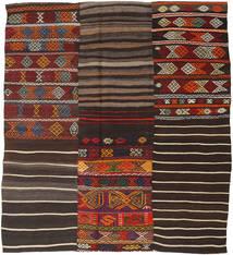 Kilim Patchwork Tapete 195X222 Moderno Tecidos À Mão Castanho Escuro (Lã, Turquia)