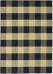 Check Kilim - Preto/Dourado Tapete 240X340 Moderno Tecidos À Mão Preto/Cinza Escuro/Verde Azeitona (Lã, Índia)