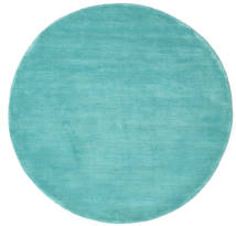 Handloom - Aqua Tapete Ø 150 Moderno Redondo Turquesa Escuro/Azul Turquesa (Lã, Índia)