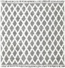 Inez - Castanho Escuro/Branco Tapete 250X250 Moderno Tecidos À Mão Quadrado Cinzento Claro/Bege Grande (Lã, Índia)