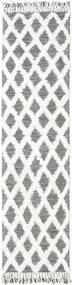 Inez - Castanho Escuro/Branco Tapete 80X300 Moderno Tecidos À Mão Tapete Passadeira Cinzento Claro/Branco/Creme (Lã, Índia)