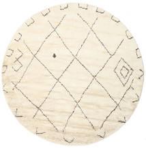 Almaaz - Branco Tapete Ø 250 Moderno Feito A Mão Redondo Bege/Branco/Creme Grande (Lã, Índia)