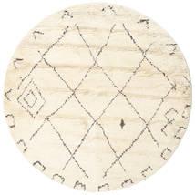 Almaaz - Branco Tapete Ø 200 Moderno Feito A Mão Redondo Bege/Branco/Creme (Lã, Índia)