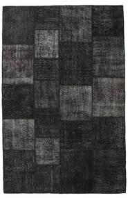 Patchwork Tapete 196X302 Moderno Feito A Mão Preto/Cinza Escuro (Lã, Turquia)