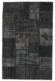 Patchwork Tapete 196X304 Moderno Feito A Mão Preto/Cinza Escuro (Lã, Turquia)