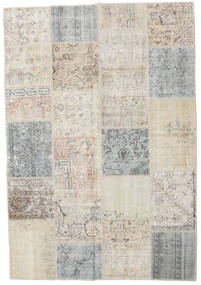 Patchwork Tapete 156X228 Moderno Feito A Mão Cinzento Claro/Bege Escuro (Lã, Turquia)