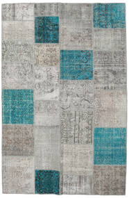 Patchwork Tapete 196X301 Moderno Feito A Mão Cinzento Claro/Azul Turquesa (Lã, Turquia)