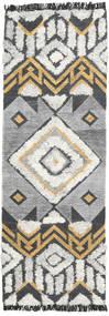 Deco Tapete 80X250 Moderno Tecidos À Mão Tapete Passadeira Cinzento Claro/Cinza Escuro (Lã, Índia)