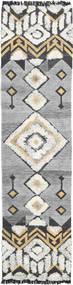 Deco Tapete 80X350 Moderno Tecidos À Mão Tapete Passadeira Cinzento Claro/Bege Escuro (Lã, Índia)