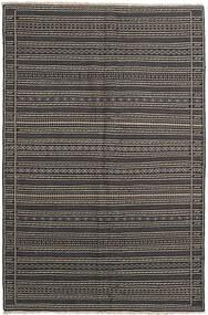 Kilim Tapete 155X236 Oriental Tecidos À Mão Cinza Escuro/Preto/Cinzento Claro (Lã, Pérsia/Irão)