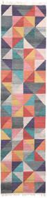 Caleido Tapete 80X350 Moderno Tecidos À Mão Tapete Passadeira Cinza Escuro/Luz Rosa (Lã, Índia)