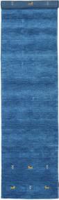 Gabbeh Loom Two Lines - Azul Tapete 80X350 Moderno Tapete Passadeira Azul/Azul Escuro (Lã, Índia)