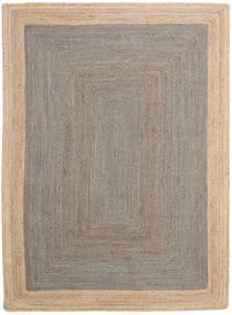 Tapete De Exterior Frida Frame - Cinzento/Natural Tapete 140X200 Moderno Tecidos À Mão Cinzento Claro/Bege (Tapete Jute Índia)