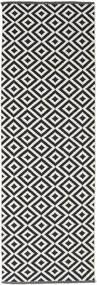 Torun - Preto/Neutral Tapete 80X300 Moderno Tecidos À Mão Tapete Passadeira Preto/Cinzento Claro (Algodão, Índia)