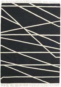 Cross Lines - Preto/Branco Pérola Tapete 160X230 Moderno Tecidos À Mão Cinza Escuro/Bege (Lã, Índia)