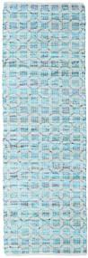 Elna - Bright_Blue Tapete 80X350 Moderno Tecidos À Mão Tapete Passadeira Azul Claro/Azul Turquesa (Algodão, Índia)