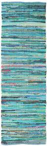 Ronja - Verde Mix Tapete 80X350 Moderno Tecidos À Mão Tapete Passadeira Azul Turquesa/Azul Turquesa (Algodão, Índia)