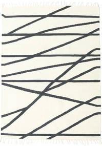 Cross Lines - Branco Pérola/Preto Tapete 160X230 Moderno Tecidos À Mão Bege/Cinza Escuro (Lã, Índia)