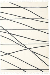 Cross Lines - Branco Pérola/Preto Tapete 200X300 Moderno Tecidos À Mão Bege/Branco/Creme (Lã, Índia)