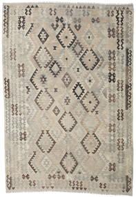 Kilim Afegão Old Style Tapete 205X296 Oriental Tecidos À Mão Cinzento Claro/Castanho Escuro (Lã, Afeganistão)