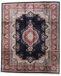 Kashmir Art. Seda Tapete 246X300 Oriental Feito A Mão Preto/Cinzento Claro ( Índia)