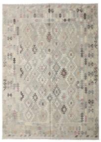 Kilim Afegão Old Style Tapete 208X287 Oriental Tecidos À Mão Cinzento Claro/Bege Escuro (Lã, Afeganistão)